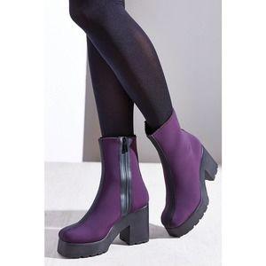 MIISTA Rayna Neoprene Purple Platform Boots